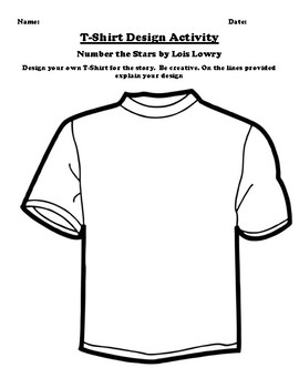 """""""Number the Stars"""" by Lois Lowry T-Shirt Design Worksheet"""