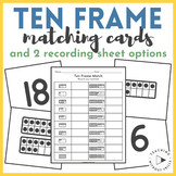 {Numbers 1-20} Ten Frames Matching Cards or Concentration Game for Math Centers