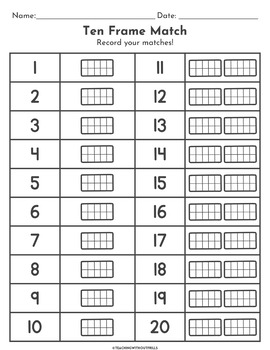 |Numbers 1-20| Ten Frames Matching Cards or Concentration Game for Math Centers