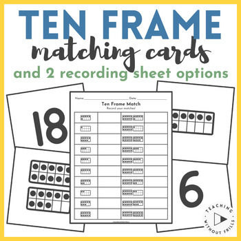 Ten Frame Matching Cards Game for Math Centers | Numbers 0-20