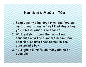 """Numbers About You"" Get to know you activity"