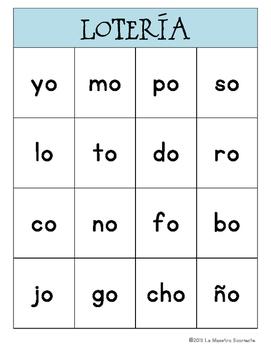 Bingo Game: Reading O Syllables (Spanish)
