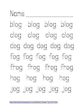 -OG Word Family Tracing
