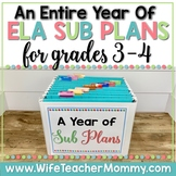 A Year of Emergency Sub Plans for 3rd, 4th Grade Sub Tub Bundle ELA