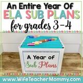 A Year of Emergency Sub Plans for 3rd, 4th Grade Sub Tub Bundle ELA