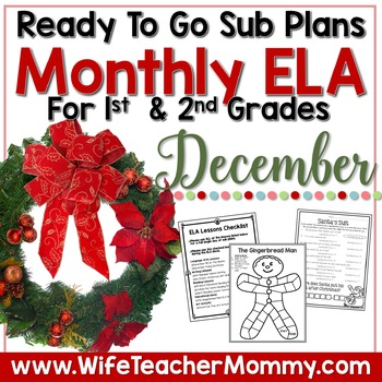 December Sub Plans ELA for 1st and 2nd Grade. Christmas