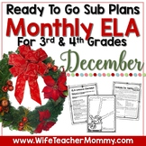 December Sub Plans ELA for 3rd, 4th  Grades. Christmas