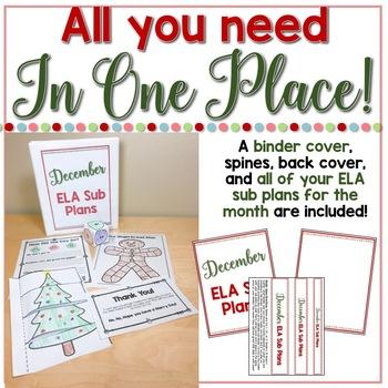 December Sub Plans ELA for Kindergarten. Christmas Substitute Plans