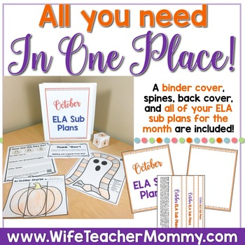 October Sub Plans ELA for 1st and 2nd Grade. Halloween.