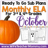 October Sub Plans ELA for 3rd, 4th, and 5th Grades. Halloween.