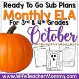 October Sub Plans ELA for 3rd, 4th Grades. No prep Halloween Activities.