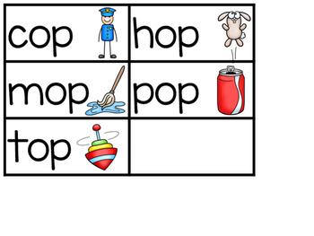-OP Word Family Sentence Building