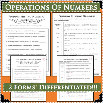 OPERATIONS OF NUMBERS Number Sense Differentiated! 2 Forms!
