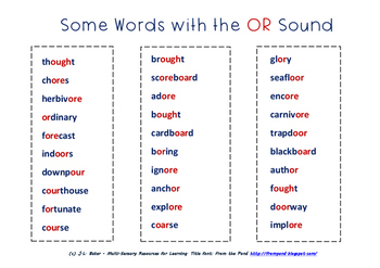 """OR"" Sound Words - Sorting Them Out. Middle Primary Phonics & Spelling Resource"