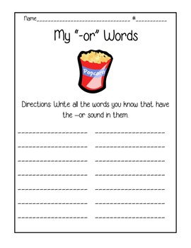 -OR Words Sound Worksheet  (Common Core friendly)
