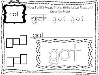~OT Word Family Worksheets Worksheets. Preschool-1st Grade Phonics.