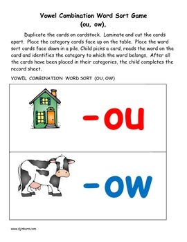 -OU or -OW? Activities to Reinforce the Use of -ou and -ow Vowel Combinations
