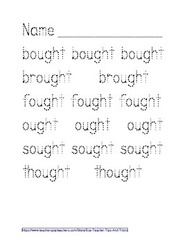 -OUGHT Word Family Tracing