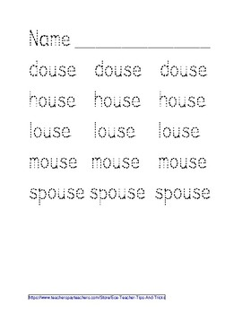-OUSE Word Family Tracing