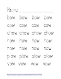 -OW (Cow) Word Family Tracing