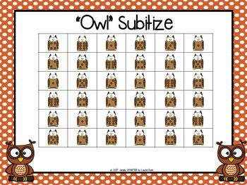"""""""OWL"""" Subitize:  NO PREP Owl Themed Five in a Row Subitizing Game"""