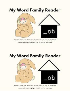 -Ob Word Family Kit 23 pages (Blend Seg CVC) TK, K, 1st, 2nd