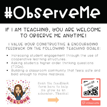 #ObserveMe Classroom Sign (Editable)
