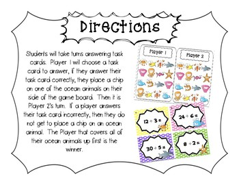 """""""Ocean Quotients"""" Division Facts 2-10 Game Boards & Task Cards"""