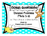 """Ocean Quotients"" Division Facts 2-10 Game Boards & Task Cards"