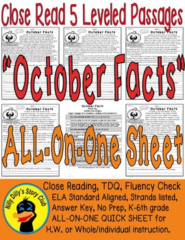 """""""October Facts"""" Close Read 5 Level Passages Fluency TDQ's"""