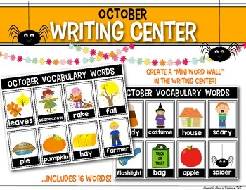 Mini Word Wall {October} for the Writing Center - Interactive!