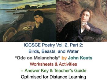"""Ode on Melancholy"" - John Keats (IGCSE Poetry: Poem, Lesson Worksheets + Guide)"