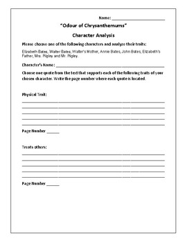 """Odour of Chrysanthemums"" Character Analysis Activity - D.H. Lawrence"