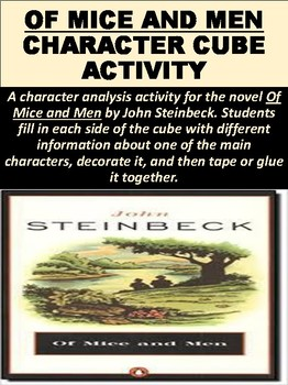 """""""Of Mice and Men"""" Character Cube Activity"""