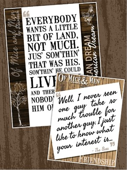 {Of Mice and Men} Key Quotes POSTERS