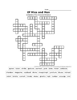 """Of Mice and Men"" vocabulary crossword puzzle"