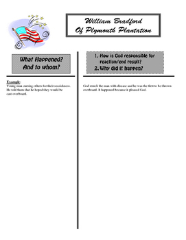 """""""Of Plymouth Plantation"""" T-Chart"""