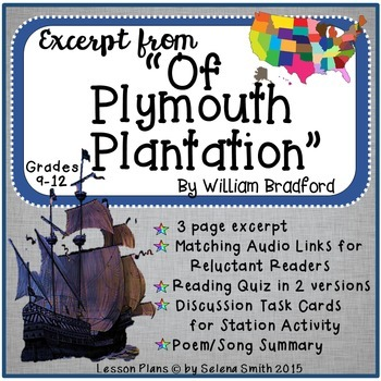 Of Plymouth Plantation By William Bradford By Selena Smith Tpt