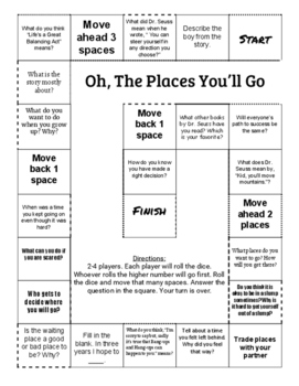 """Oh the Places You'll Go"" Comprehension Game Board"