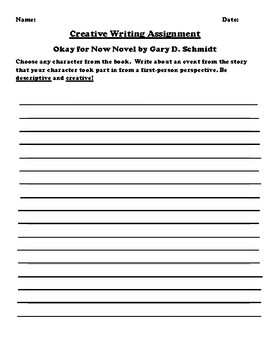 """""""Okay for Now"""" by Gary D. Schmidt. Creative Writing"""