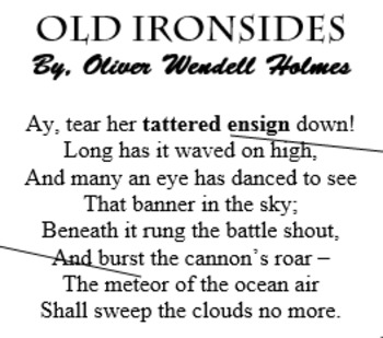 """Old Ironsides"" by Oliver Wendell Holmes - PRINTABLE; vocabulary; assessment"