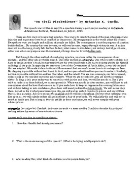 """On Civil Disobedience"" by Gandhi Analysis Worksheet"