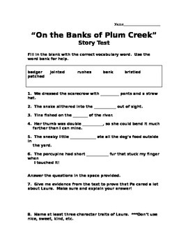 """On the Banks of Plum Creek"" Story Test- Scott Foresman (RL 4.3)"
