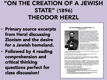"""On the Creation of a Jewish State"" Reading with Questions - Theodor Herzl"