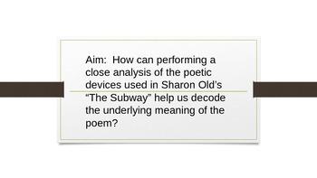 """On the Subway"" Sharon Olds Figurative Language Lesson PPT"