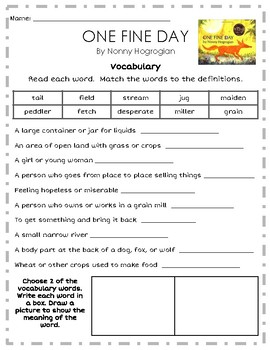 """""""One Fine Day"""" Activities for Reading, Writing, and Comprehension"""