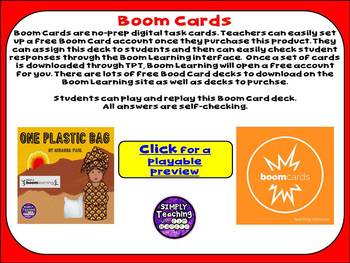 """One Plastic Bag""  by Miranda Paul Digital Boom Card comprehension task cards"