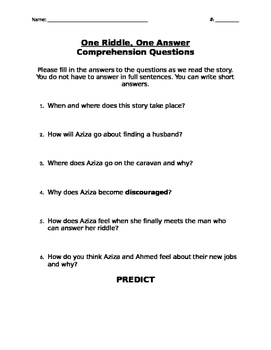 """""""One Riddle, One Answer"""" Guide/Predict Questions"""