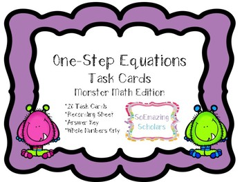 **One-Step Equations Task Cards with Recording Sheet and Answer Key**
