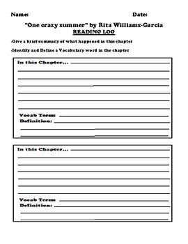 """One crazy summer"" by Rita Williams-Garcia Worksheet Packet"